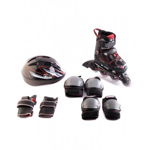 Детские раздвижные  ролики FILA  X-One Combo 3 Set Black/Red