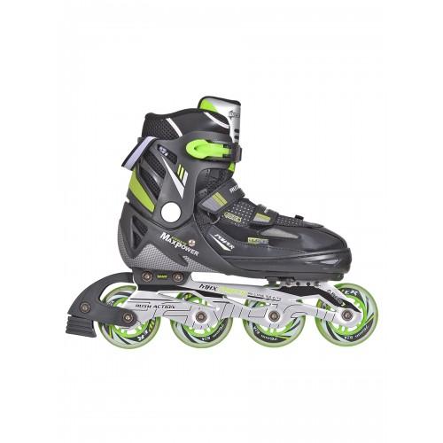 Роликовые коньки детские раздвижные MAX черно-зеленые