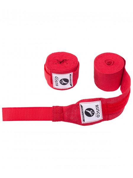 Бинт боксерский, Rusco 2,5 м, хлопок, красный
