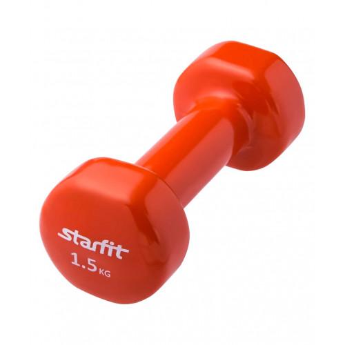 Гантель виниловая Starfit DB-101 1,5 кг, оранжевая