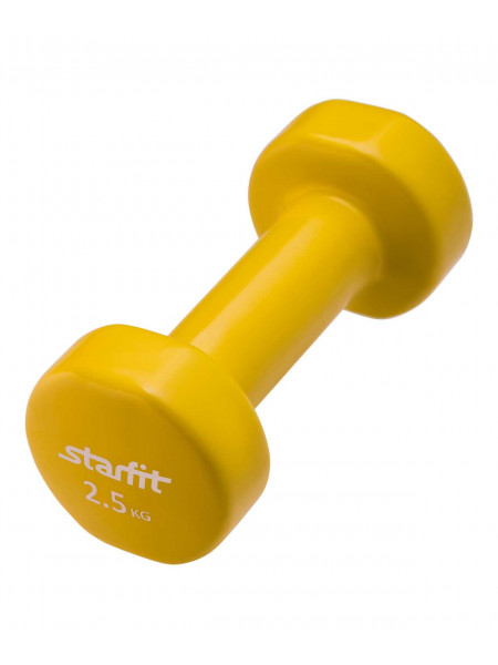 Гантель виниловая Starfit DB-101 2,5 кг, желтая
