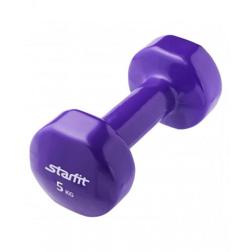 Гантель виниловая Starfit DB-101 5 кг, фиолетовая