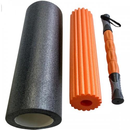 Ролик для йоги 3 в 1 B31264 46х15см черный/оранжевый