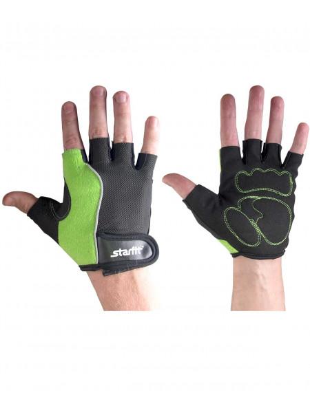 Перчатки для фитнеса Starfit SU-108, зеленые/черные