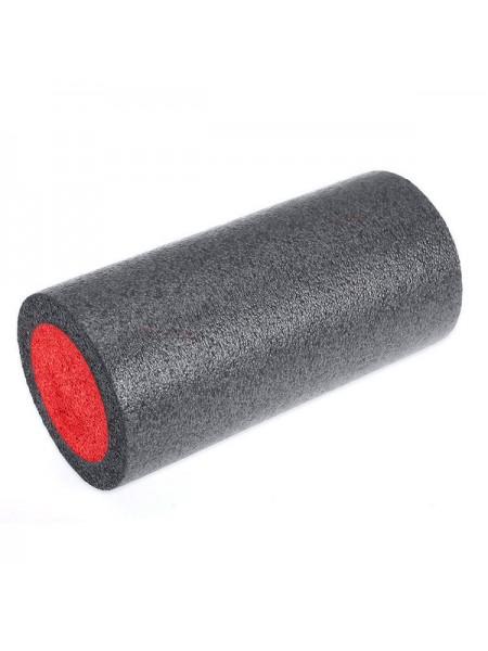 Ролик для йоги полнотелый 2-х цветный  B31510-5 30х15см черно-красный
