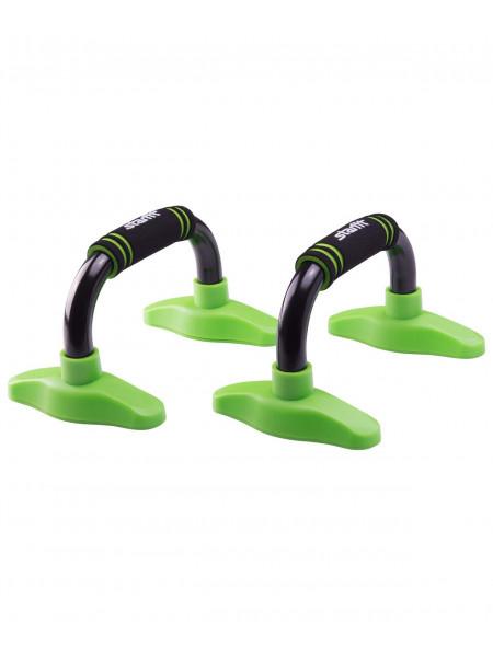 Упоры для отжиманий «Классические» Starfit BA-302, черные/зеленые