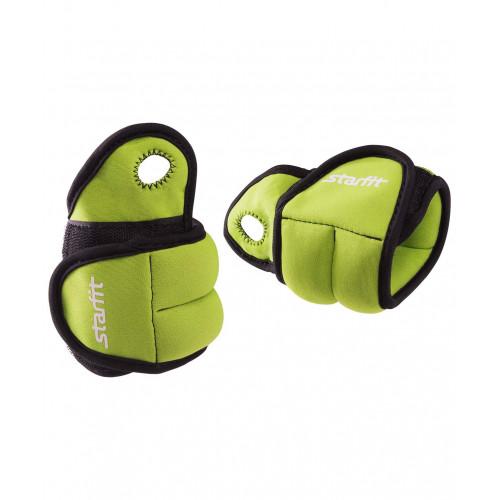 """Утяжелители Starfit WT-201 для рук """"Эргономичные"""", 0,5 кг, зеленые/черные"""