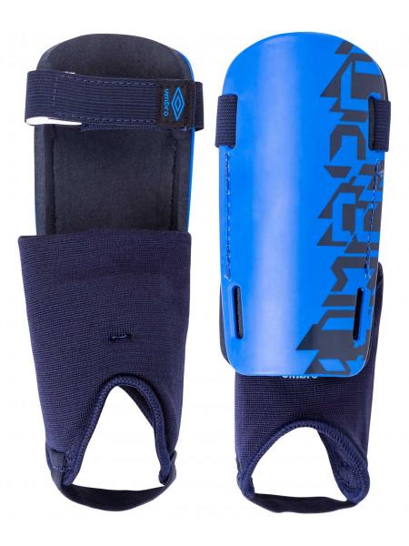 Щитки футбольные Umbro Veloce Guard W/Det Sock 20909U, синий/темно-синий/белый