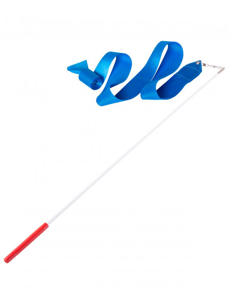 Лента для художественной гимнастики Amely AGR-201 4м, с палочкой 46 см, голубой