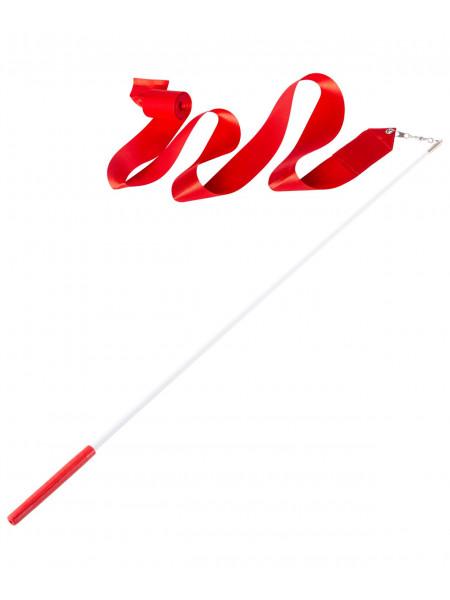Лента для художественной гимнастики Amely AGR-201 4м, с палочкой 46 см, красный