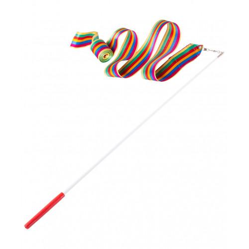Лента для художественной гимнастики Amely AGR-201 6м, с палочкой 56 см, радуга