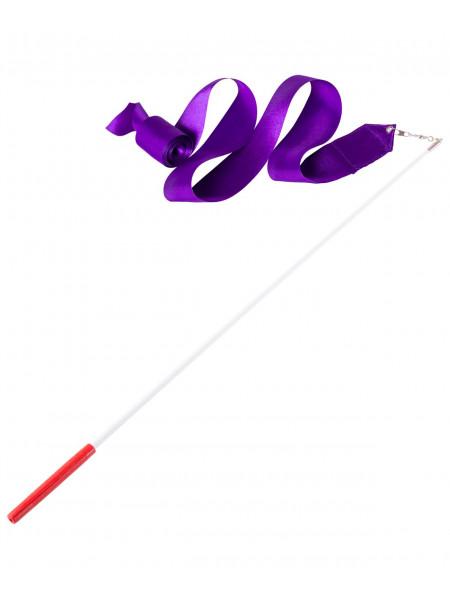 Лента для художественной гимнастики Amely AGR-201 4м, с палочкой 46 см, фиолетовый