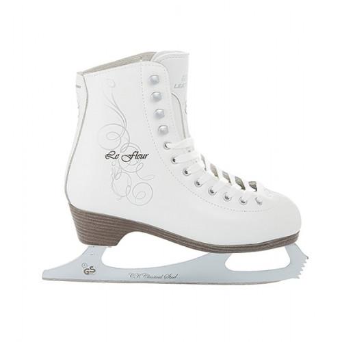 Фигурные коньки СК (Спортивная Коллекция) Le Fleur 100% Leather белый