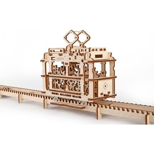 Деревянный конструктор UGEARS Трамвай с рельсами