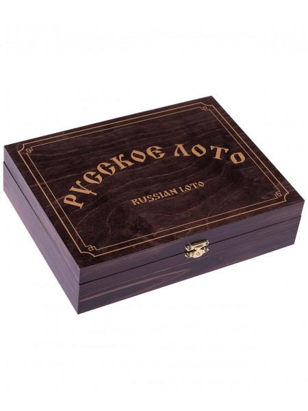Лото 274-18, бочонок деревянный, в деревянной шкатулке, темно-коричневый