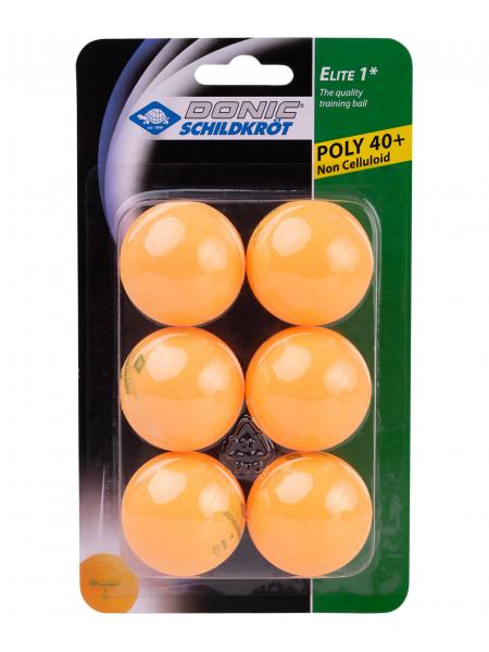 Мячи для настольного тенниса Donic 1* Elite, оранжевый, 6 шт.