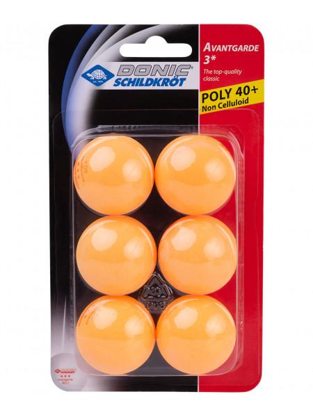 Мячи для настольного тенниса Donic 3* Avantgarde, оранжевый, 6 шт.
