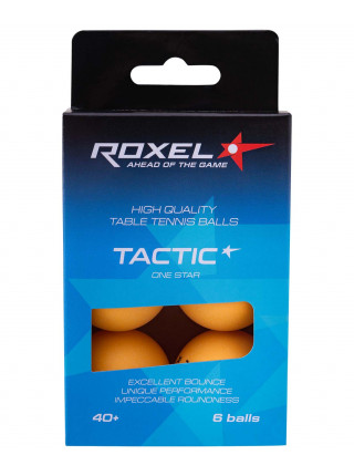 Мяч для настольного тенниса Roxel 1* Tactic, оранжевый, 6 шт.