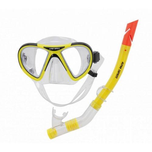Комплект маска с трубкой для плавания MS-1399S24 ПВХ желтый