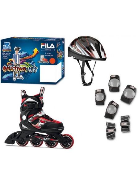 Набор раздвижных роликовых коньков с защитой FILA J-ONE COMBO 3 SET Black/Red