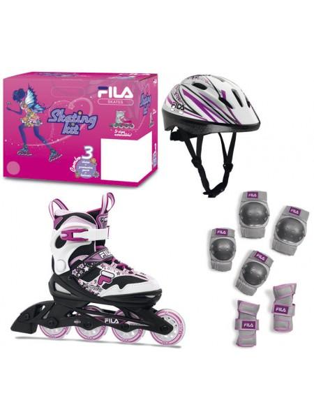 Набор раздвижных роликовых коньков с защитой FILA J-ONE COMBO G 3 SET Black/White/Magenta