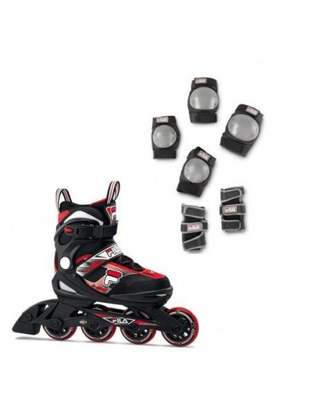 Набор раздвижных роликовых коньков с защитой FILA J-ONE COMBO 2 SET Black/Red