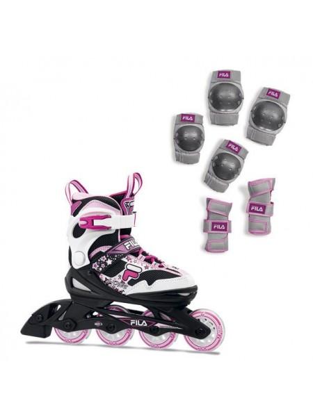 Набор раздвижных роликовых коньков с защитой FILA J-ONE COMBO G 2 SET Black/White/Magenta