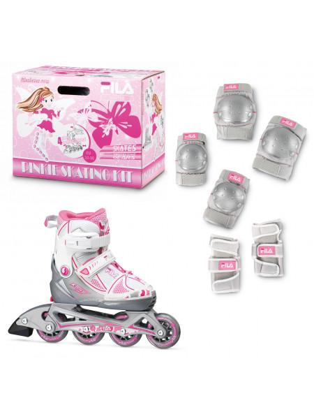 Набор раздвижных роликовых коньков с защитой FILA X-ONE Combo 2 Set белый/розовый