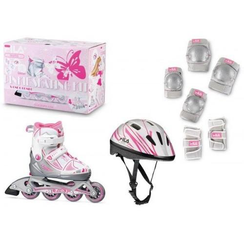 Набор раздвижных роликовых коньков с защитой FILA X-ONE Combo 3 Set белый/розовый