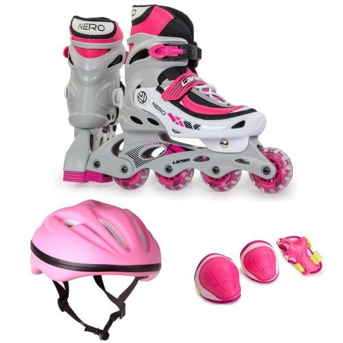 Набор раздвижных роликовых коньков с защитой Nero COMBO розовый