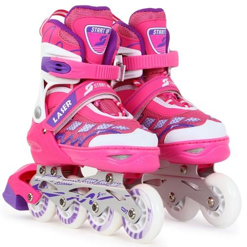 Раздвижные роликовые коньки Larsen Start Up Laser розовый