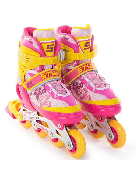Раздвижные роликовые коньки Start Up Style розовый/оранжевый