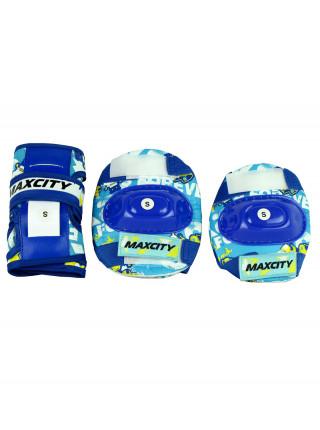 Набор раздвижных роликовых коньков с защитой MaxCity Caribo Combo Boy синий