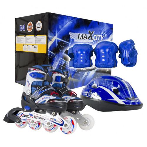 Набор раздвижных роликовых коньков с защитой MC VOLT COMBO blue