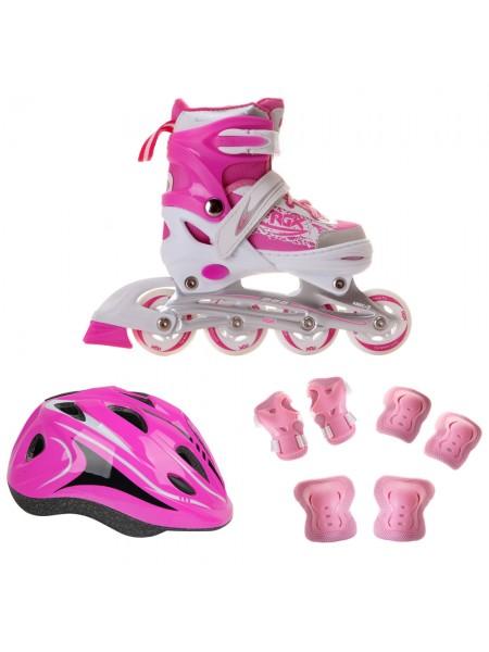 Набор раздвижных роликовых коньков с защитой RGX BRAMAN COMBO розовый