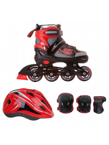 Набор раздвижных роликовых коньков с защитой RGX BRAMAN COMBO красный