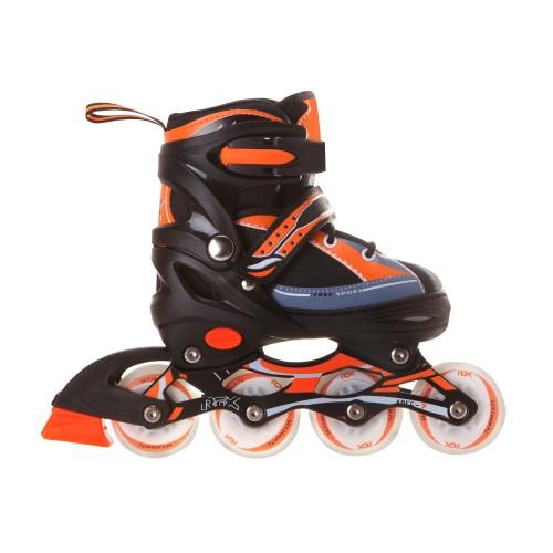 Раздвижные роликовые коньки RGX Fantom Orange LED подсветка колес