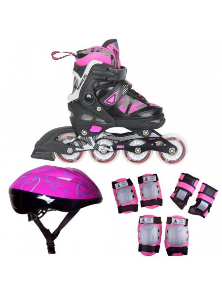 Набор раздвижных роликовых коньков с защитой RGX Mobilis LED розовый