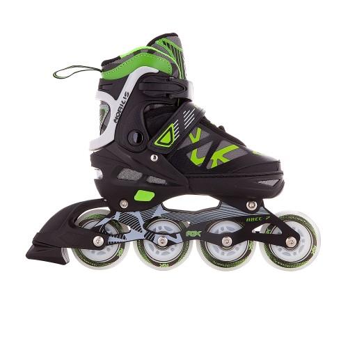 Раздвижные роликовые коньки RGX Mobilis Green LED подсветка колес