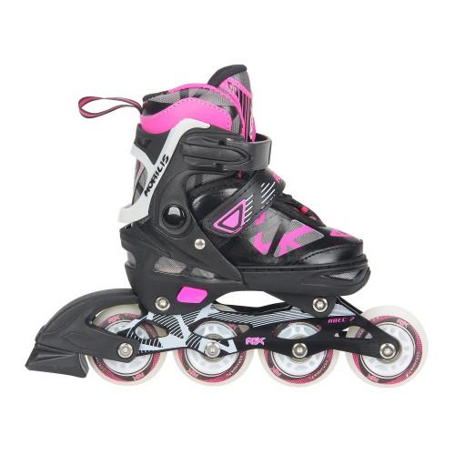 Раздвижные роликовые коньки RGX Mobilis Pink LED подсветка колес