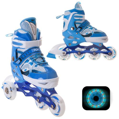 Раздвижные роликовые коньки RGX Sonic Blue LED подсветка колес