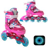 Раздвижные роликовые коньки RGX Sonic Pink LED подсветка колес
