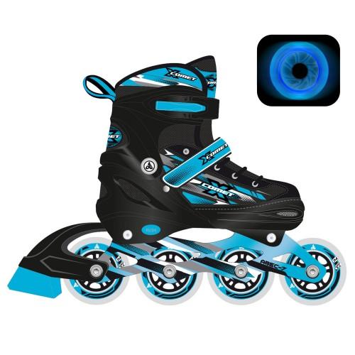 Раздвижные роликовые коньки RGX X-Comet Blue LED подсветка колес