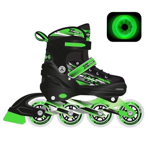 Раздвижные роликовые коньки RGX X-Comet Green LED подсветка колес