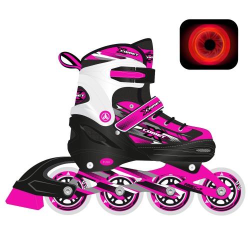 Раздвижные роликовые коньки RGX X-Comet Pink LED подсветка колес