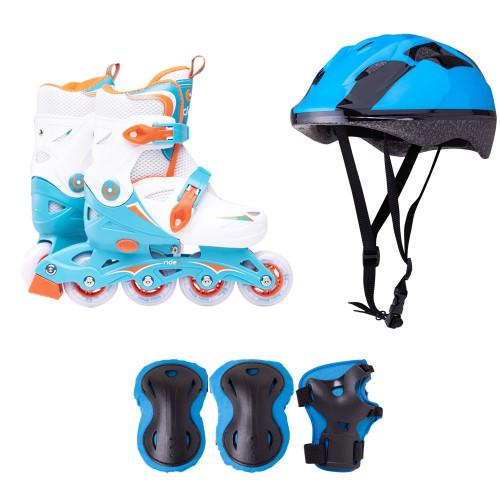 Набор раздвижных роликовых коньков с защитой Ridex Cricket голубой