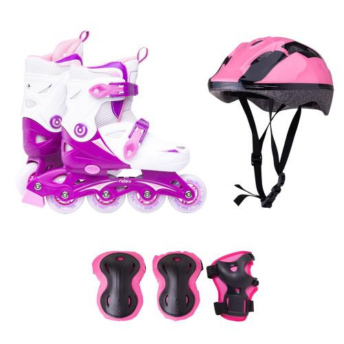 Набор раздвижных роликовых коньков с защитой Ridex Cricket розовый