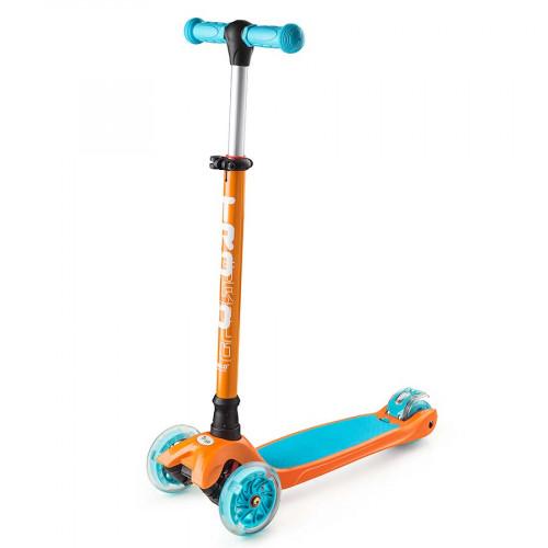 Самокат TROLO MAXI (2017) оранжевый/голубой со светящимися колесами