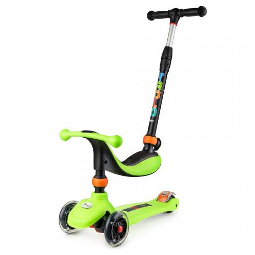 Самокат детский TROLO RINO 3 в 1 (2017) зеленый со светящими колесами