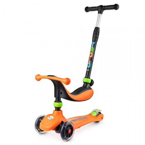 Самокат детский TROLO RINO 3 в 1 (2017) оранжевый со светящими колесами
